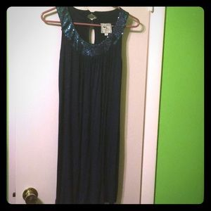 Navy blue sequined tank top with keyhole back